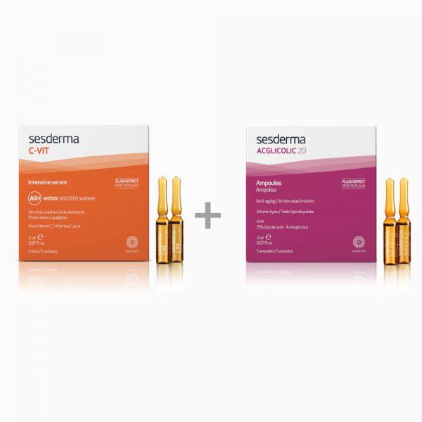 SESDERMA Efect Flash Acglicolic Classic 5 x 2ml + C-Vit 12% 5 x 2ml ampułki intensywnie przeciwzmarszczkowe