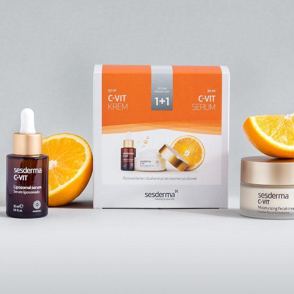 SESDERMA Zestaw C-Vit krem nawilżający 50ml + serum liposomowe z witaminą C 30ml