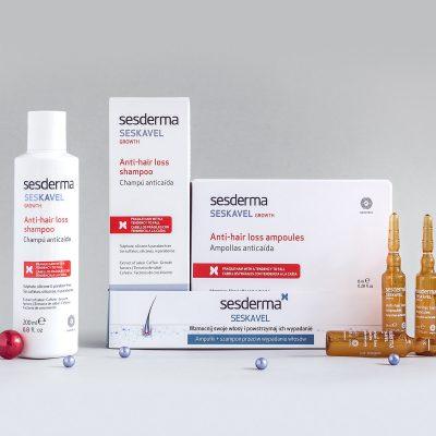 SESDERMA Zestaw Seskavel przeciw wypadaniu włosów ampułki 12x8ml + szampon 200ml